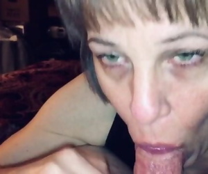 Mature Slobbering and Sucking Cock till it Fills her Mouth..
