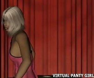 Hot virtual 3d stripper in pink lingerie