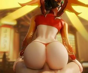 Mercy Bounces on a Huge Cock