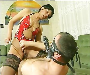 Mistress rides her slaves face