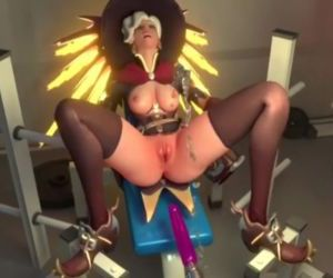 Overwatch - Mercy squirts after hard machine fuck