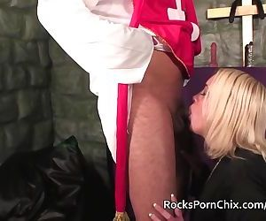 Chubby blonde rough fuck in church