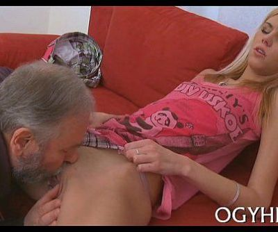 Cute young gal screwed by old man