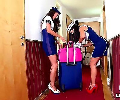 Crazy Hot Spanish Stewardess Sex with Lorena & Alexa Tomas 22 min HD+