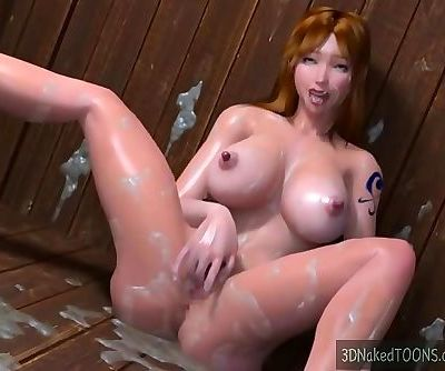 3d hottie with big natural tits fucked by octopus