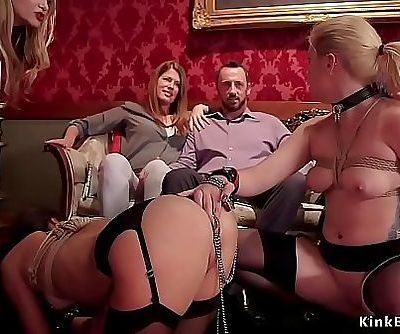 Caged sexy slaves in bdsm torment orgy 5 min HD