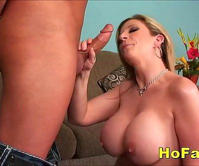Naughty Big Tits Milf Slurps and Fucks Huge Cock