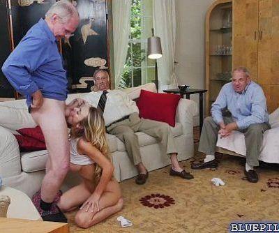 Blonde Molly Mae hardcore fucking with grandpas