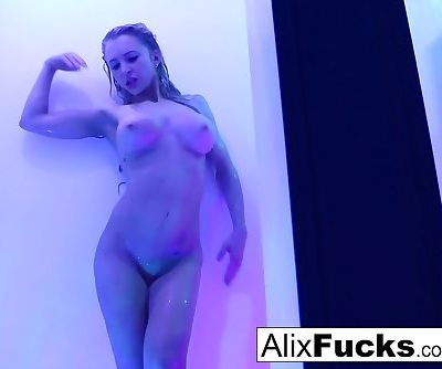 Alix Lynx takes a hot shower