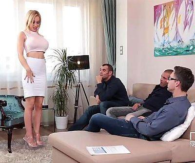Fantastic Five Busty Blonde Sucks down 4 Hot loadsHD