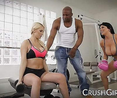 Kenzie and Romi share a big black cock at the gym 10 min 1080p