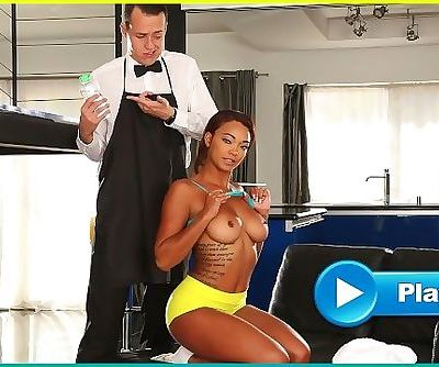 BANGBROS - Young Ebony Pornstar Makes Her Butlers Day By Fucking Him