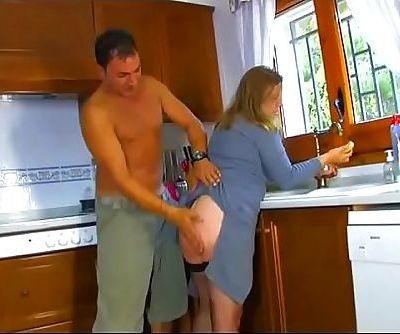 Housewife mistreated and fucked in the kitchen while she wash the dishes