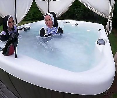 Two Naughty Nuns Get Wet In The Hot Tub 21 min HD+