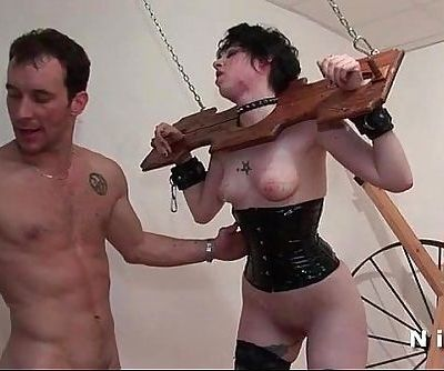 Pretty young brunette ass fucked hard in bdsm game