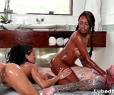 Kira Noir and Daya Knight do slippery NURU massage 6 min HD+