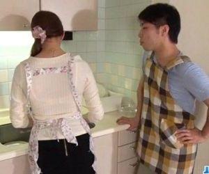 Wife Rina Koda gets busy with three hungry cocks - 12 min