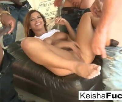 Hot babe Keisha is ready for her gangbang