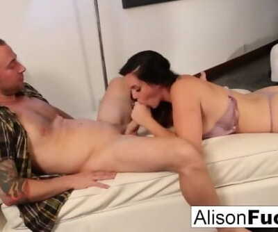 Alison drains Chads cock with her mouth