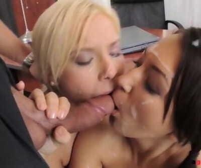Naughty schoolgirls Lisa and Olivia ride tutors big hard dick with asses