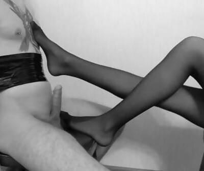 Amazing footjob. Black stockings. Foot fetish