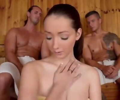 Shy Teen with very Big Boobs Likes 3some Fuck with two Strangers in Sauna