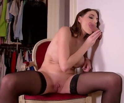 Glory Hole in Dressing Room Lead to Dick Sucking Action with Marie Clarence