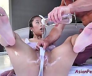 Asian slut oiled..
