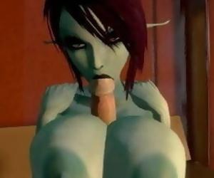 3D huge tit elf titfuck and blowjob
