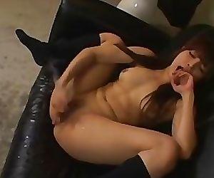 Adorable asian girl gushing like crazy
