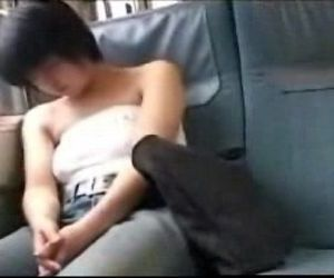 Asian babe sleeping on train - 4 min