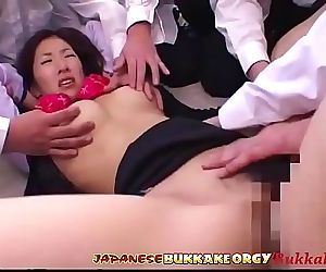 Japanese Teacher degraded and Cum covered by her Students in Class 15 min HD