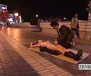 Subtitled extreme Japanese public blowjob naked sushi 3 min