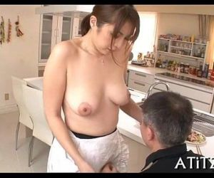 Wet oral-sex from busty japanese - 5 min