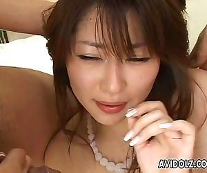 Hairy pussy Asian babe with double cock sucking 5 min