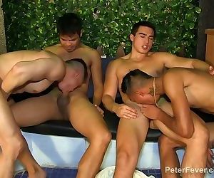 4 Man Asian Orgy in Bathhouse Betrothal from SEXY RICH GAYSIANS