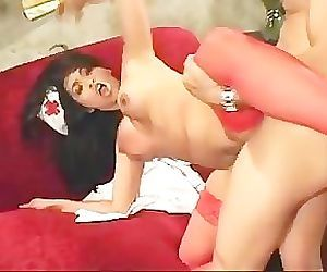 Asian Nurse In Uniform Fucking And Anal In Stockings