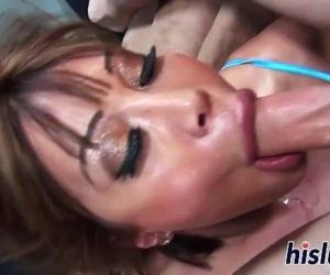 Busty MILF pleasures two thick rods - 1 min 38 sec