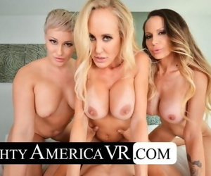 Naughty America Three hotties bang their friends son in VR