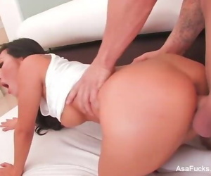 Sexy Asa Akira Swallows his Cum