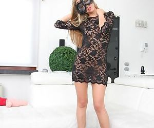 Leggy blonde chick hides her identity with a mask during..