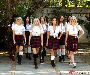Schoolgirls strip off pleated skirts before having all..