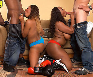 Thick black chicks with big butts do a foursome after..