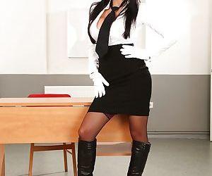 European vixen Aletta Ocean gets rid of her formal suit..
