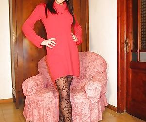 Brunette babe in sexy looking pantyhose Valentina loves to..