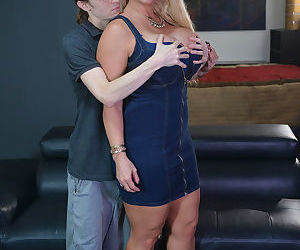 Blonde chick Alura Jenson seduces a guy with her massive..
