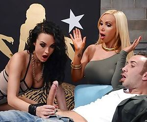 Groupsex with busty milf pornstar Alektra Blue and Nikki..