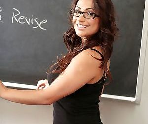 Smiley schoolgirl in glasses Rikki Nyx revealing her..