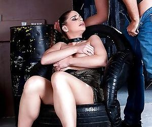 Brunette fetish enthusiast Cathy Heaven giving big cock..