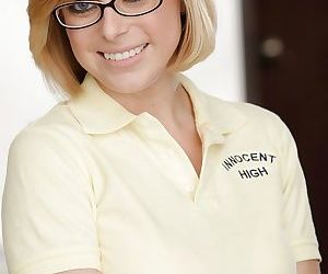 Sweet schoolgirl Penny Pax is posing in her sexy glasses